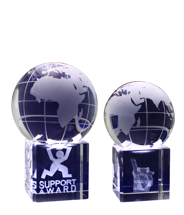 3D Crystal Spinning Globes