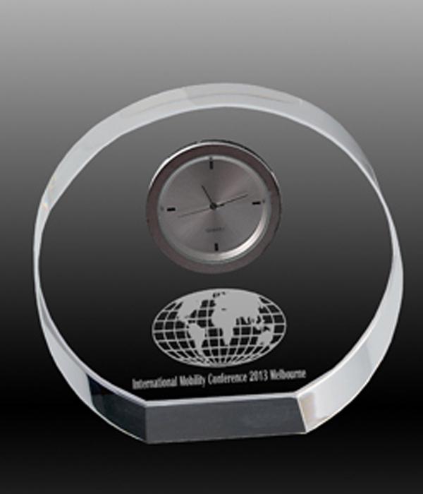 Round Clock Crystal Award
