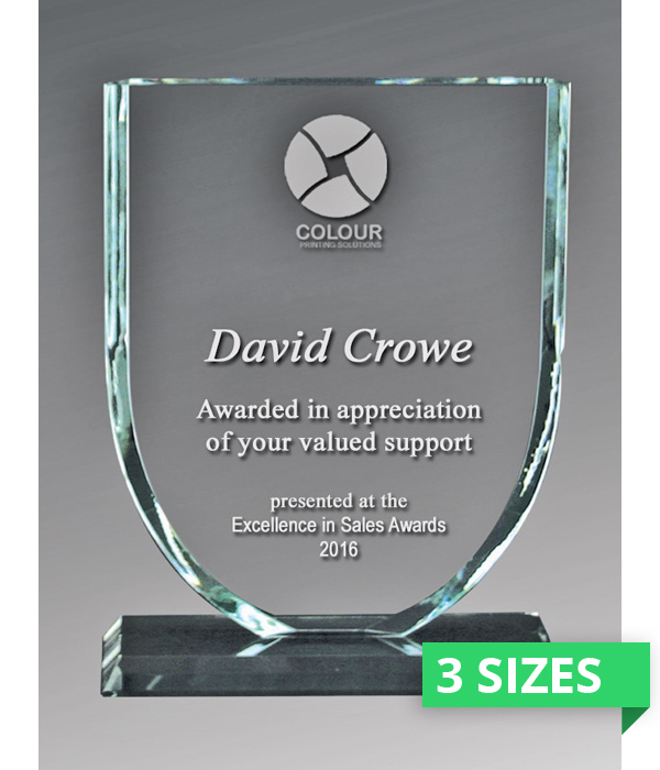 Sovereign Shield Glass Trophy