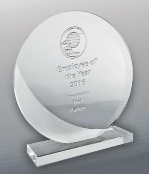 Intrepid Round Glass Trophy-175mm