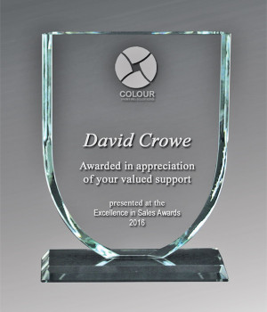 Sovereign Shield Glass Trophy-195mm