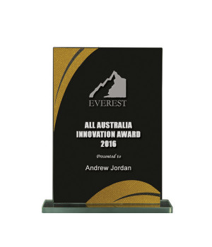 Gold Streak Black Glass Trophy-165mm