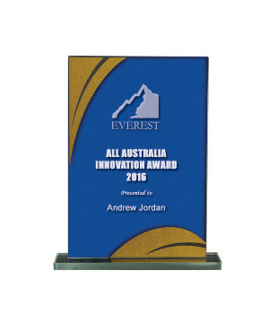 Gold Streak Blue Glass Trophy-165mm