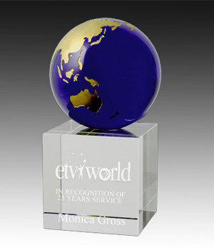 Royal Globe Cube Crystal Trophy-148mm