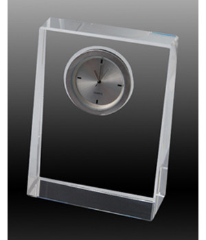 Wedge Clock Crystal Award-100mm