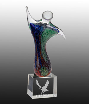 Art Glass Twin Figure Trophy-280mm