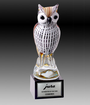 Art Glass Owl Trophy-260mm