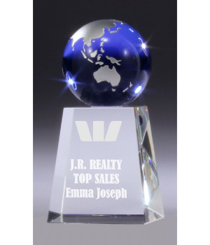 Sapphire Globe Crystal Trophy-130mm