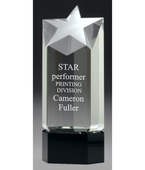 Mounted Star Point Crystal Trophy-210mm