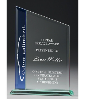 Prince Blue Ascent Glass Trophy-250mm