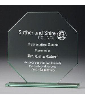 Jade Octagon Glass Trophy-210mm