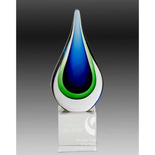 Art Glass Teardrop Trophy-220mm
