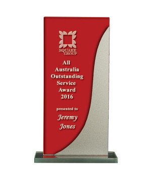 Silver Streak Red Glass Trophy-175mm