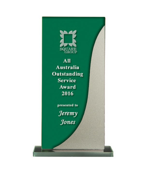 Silver Streak Green Glass Trophy-175mm