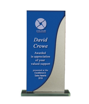 Silver Streak Blue Glass Trophy-175mm