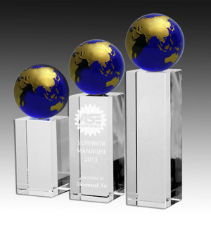 Royal Globe Tower Crystal Trophy-228mm