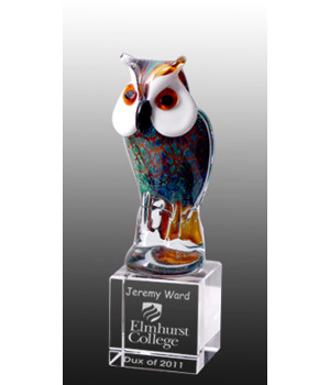 Art Glass Owl Trophy-235mm