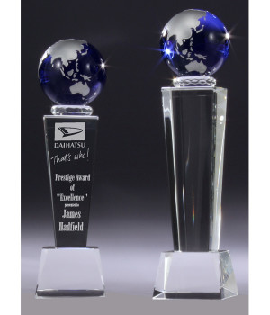 Sapphire Globe Tower Crystal Trophy-220mm