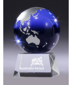 Sapphire Globe Crystal Trophy-110mm