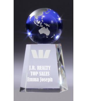 Sapphire Globe Crystal Trophy-130mm