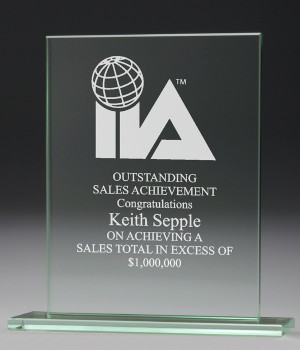 Jade Rectangle Glass Trophy-190mm