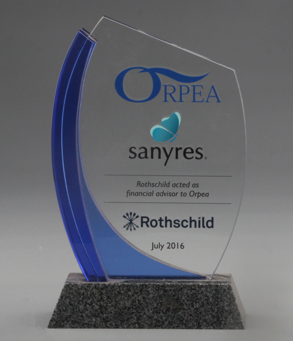Crystal Trophy with Blue Sash