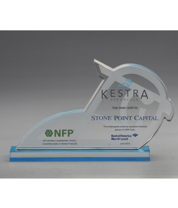 Custom Blue Base Crystal Trophy