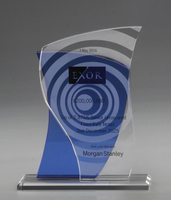 Custom Blue Sail Crystal Trophy