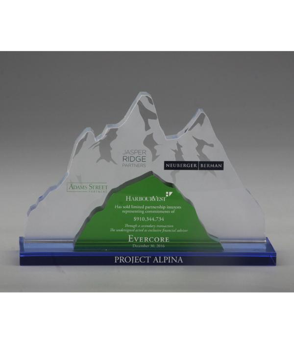 Custom Mountain Multi-Colour Crystal Trophy