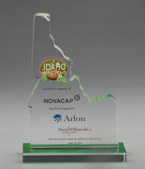 Custom Crystal Trophy with Green Base