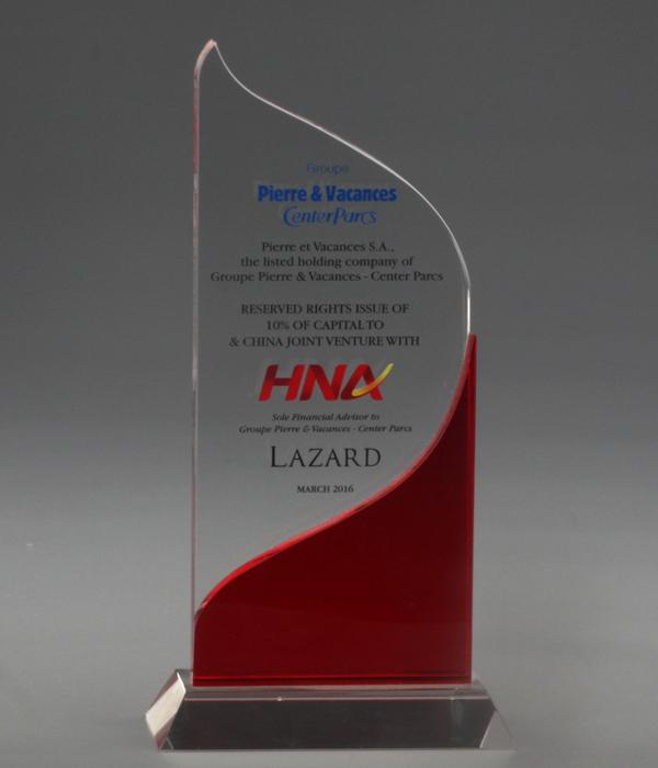 Custom Red Flame Crystal Award