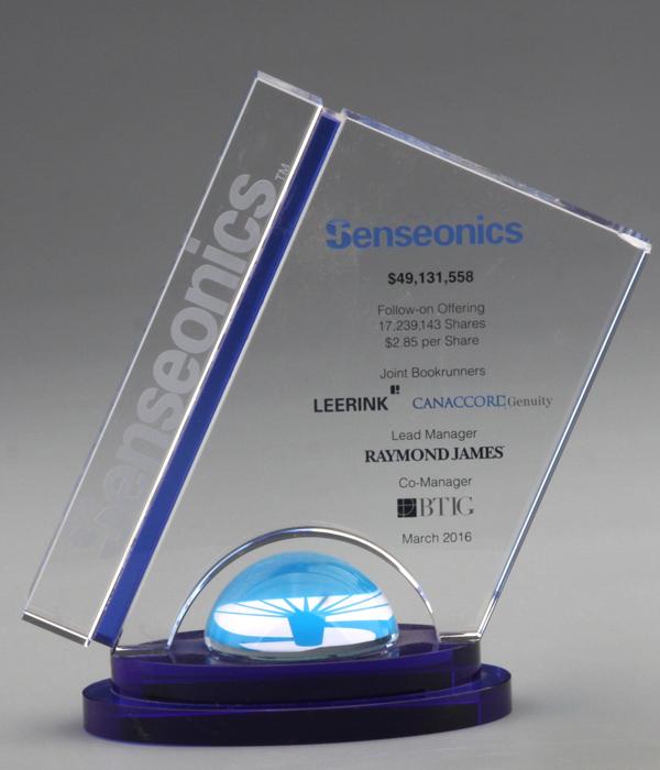 Custom Blue Dome Slanted Crystal Trophy